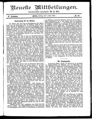 Neueste Mittheilungen vom 05.06.1885