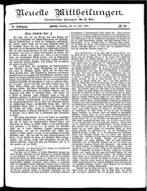 Neueste Mittheilungen vom 16.06.1885