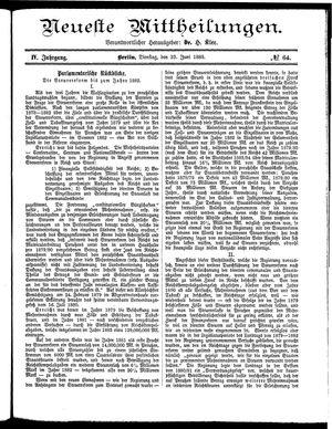 Neueste Mittheilungen vom 23.06.1885