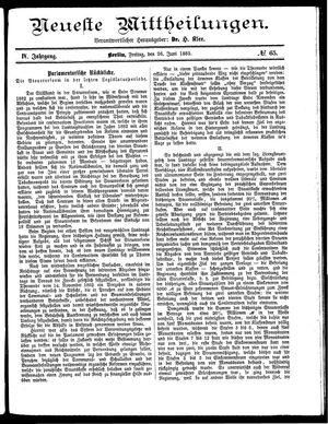 Neueste Mittheilungen vom 26.06.1885