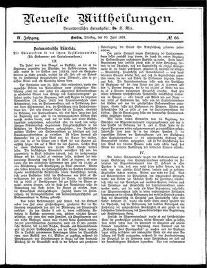Neueste Mittheilungen vom 30.06.1885
