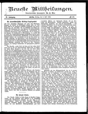 Neueste Mittheilungen vom 03.07.1885
