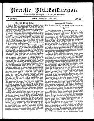 Neueste Mittheilungen vom 07.07.1885
