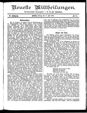 Neueste Mittheilungen on Jul 17, 1885