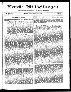 Neueste Mittheilungen vom 21.07.1885