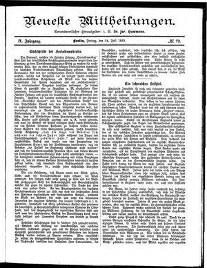 Neueste Mittheilungen vom 24.07.1885