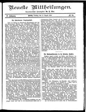 Neueste Mittheilungen vom 11.08.1885
