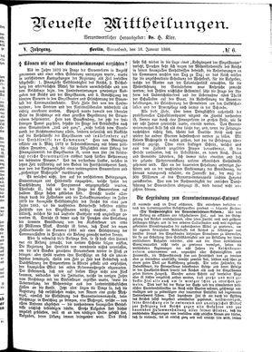 Neueste Mittheilungen vom 16.01.1886