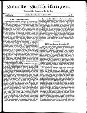 Neueste Mittheilungen vom 21.01.1886