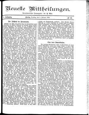 Neueste Mittheilungen on Feb 2, 1886