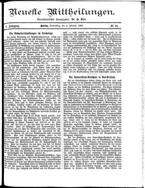 Neueste Mittheilungen vom 04.02.1886