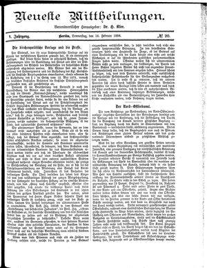 Neueste Mittheilungen vom 18.02.1886