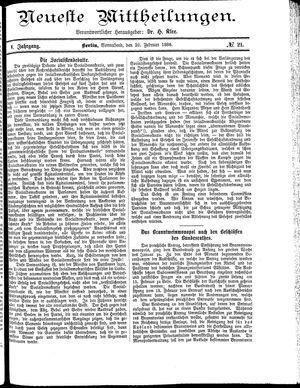 Neueste Mittheilungen vom 20.02.1886