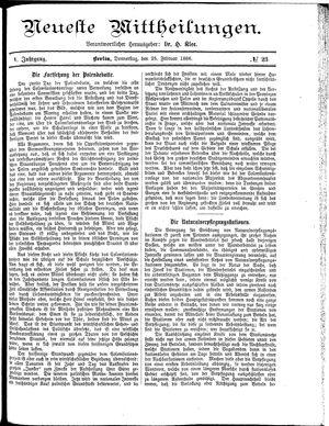 Neueste Mittheilungen vom 25.02.1886