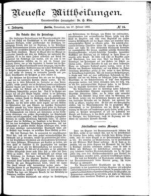 Neueste Mittheilungen vom 27.02.1886
