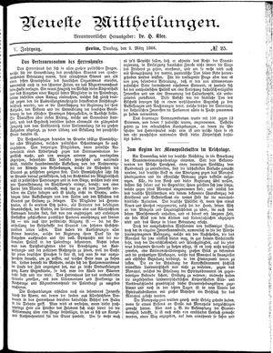 Neueste Mittheilungen vom 02.03.1886