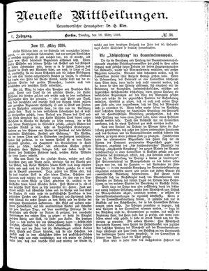 Neueste Mittheilungen vom 16.03.1886