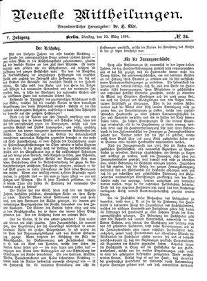 Neueste Mittheilungen vom 23.03.1886