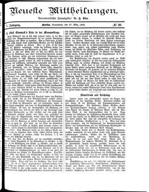 Neueste Mittheilungen vom 27.03.1886