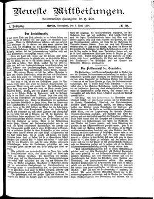 Neueste Mittheilungen vom 03.04.1886