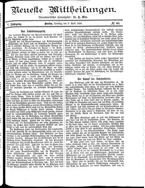 Neueste Mittheilungen vom 06.04.1886