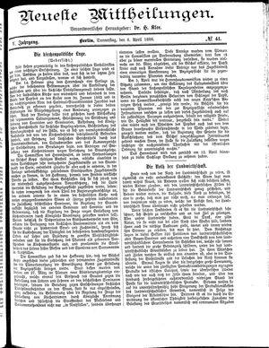 Neueste Mittheilungen vom 08.04.1886