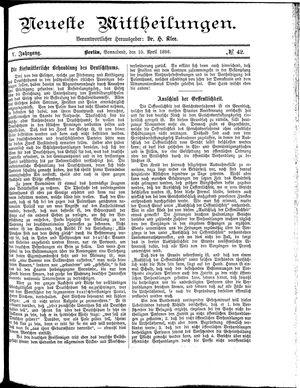 Neueste Mittheilungen vom 10.04.1886