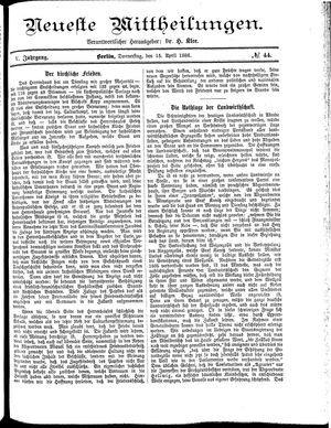 Neueste Mittheilungen vom 15.04.1886