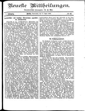 Neueste Mittheilungen vom 17.04.1886