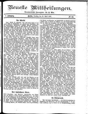 Neueste Mittheilungen vom 20.04.1886