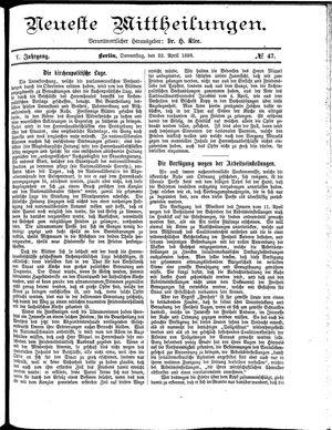 Neueste Mittheilungen vom 22.04.1886