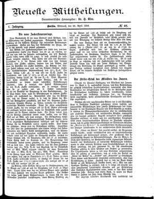 Neueste Mittheilungen vom 28.04.1886