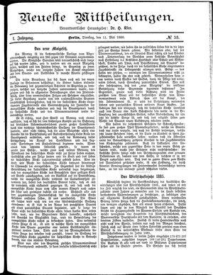 Neueste Mittheilungen vom 11.05.1886