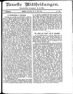 Neueste Mittheilungen vom 13.05.1886