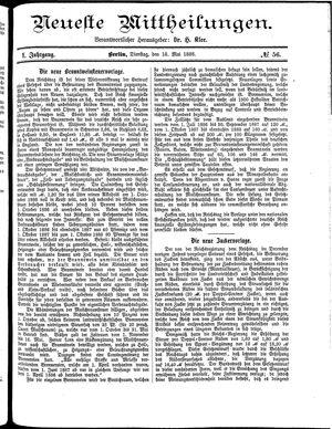 Neueste Mittheilungen vom 18.05.1886