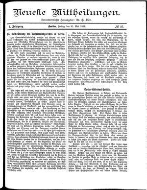 Neueste Mittheilungen vom 21.05.1886