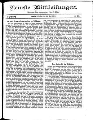 Neueste Mittheilungen vom 25.05.1886