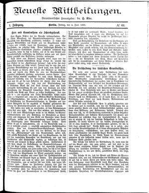 Neueste Mittheilungen vom 04.06.1886