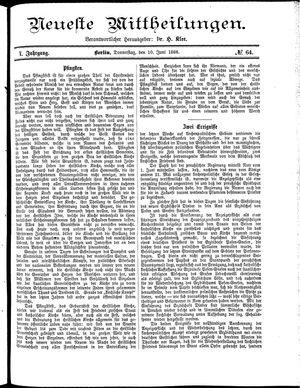 Neueste Mittheilungen vom 10.06.1886