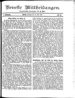 Neueste Mittheilungen vom 15.06.1886