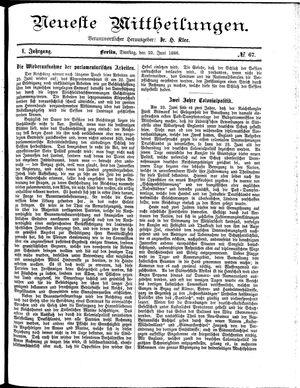 Neueste Mittheilungen vom 22.06.1886