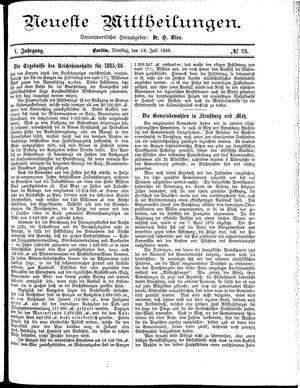 Neueste Mittheilungen vom 13.07.1886