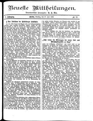 Neueste Mittheilungen vom 27.07.1886