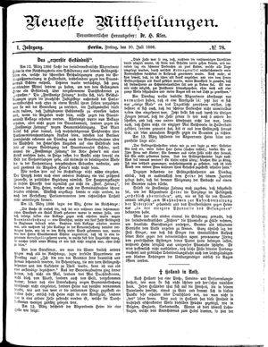 Neueste Mittheilungen on Jul 30, 1886