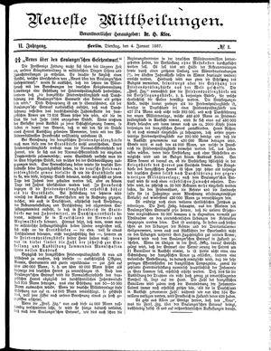 Neueste Mittheilungen vom 04.01.1887