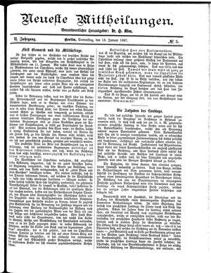 Neueste Mittheilungen vom 13.01.1887