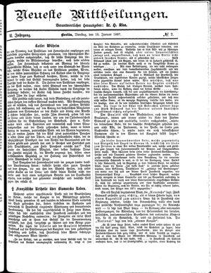 Neueste Mittheilungen vom 18.01.1887