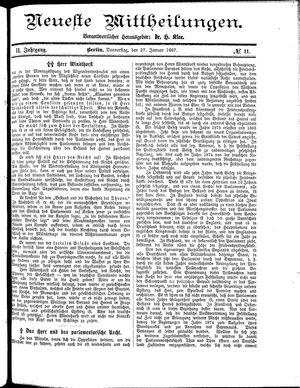 Neueste Mittheilungen vom 27.01.1887