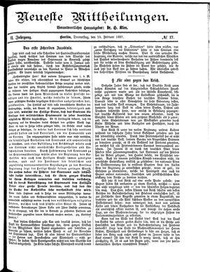 Neueste Mittheilungen vom 10.02.1887