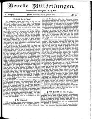 Neueste Mittheilungen vom 12.02.1887